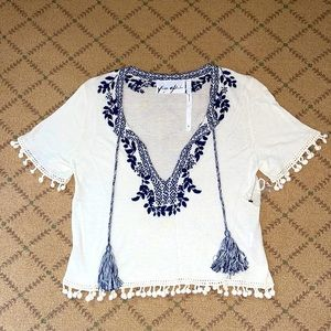 Yaya Aflalo cream and navy knit top tassels NWT S
